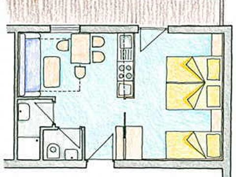 Sketch of the Apartment Top 2 of the 3 star bed and breakfast establishment Kirchplatz in St. Anton am Arlberg in Austria