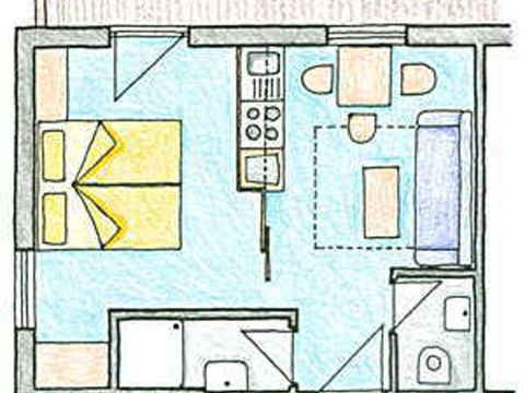 Sketch of the Apartment Top 1 at the 3 star bed and breakfast establishment Kirchplatz in St. Anton am Arlberg in Austria